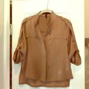 BCBG XS Camel 3/4 length button down top